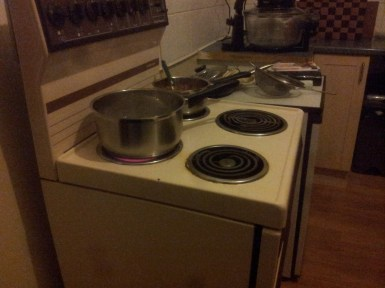 For the time being, I'm waiting ever-patiently for this old electric hob to warm up...